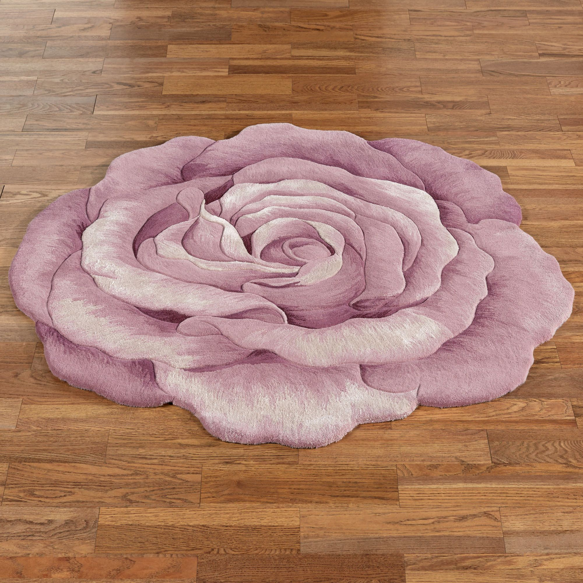 Claire Bloom Lavender Rose Flower Shaped Rugs Round Rugs