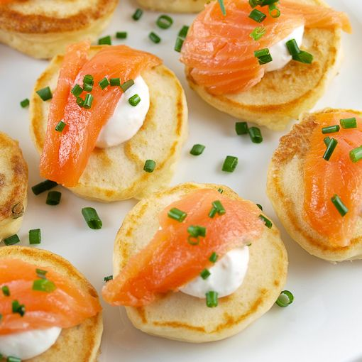 Winter Wedding Food: Cream Cheese Pancakes With Smoked Salmon