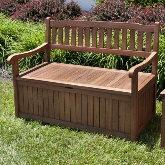 4 Ft Teak Storage Bench With Scrolled Arms With Images Outdoor