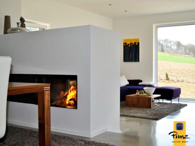 Moderner heizkamin raumteiler durchsicht m design 3041 - Raumteiler modern ...