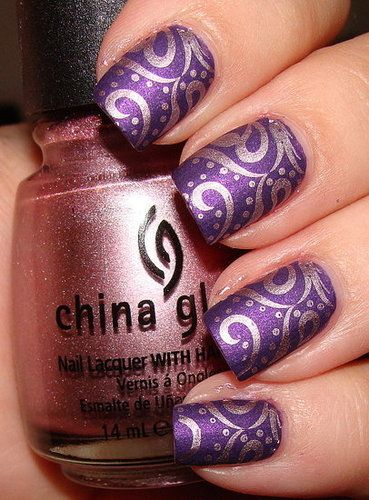 I used China Glaze Admire and this swirly pattern from Konad plate m64 over Zoya Savita. I liked the bold shiny chrome over the matte finish and the pink sheen of Savita was really set off nicely by the pink chrome.