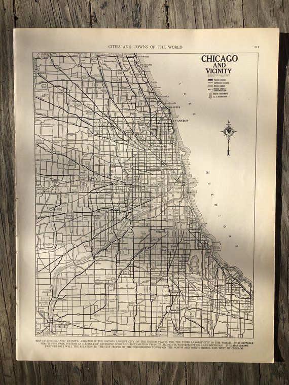 Chicago Map Wall Art City of Chicago Map Wall Art / Vintage Map Decor / City Map of