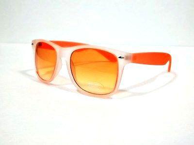 Classic Super Retro Style Sunglasses Matte Orange Clear Frame nd Orange Lens