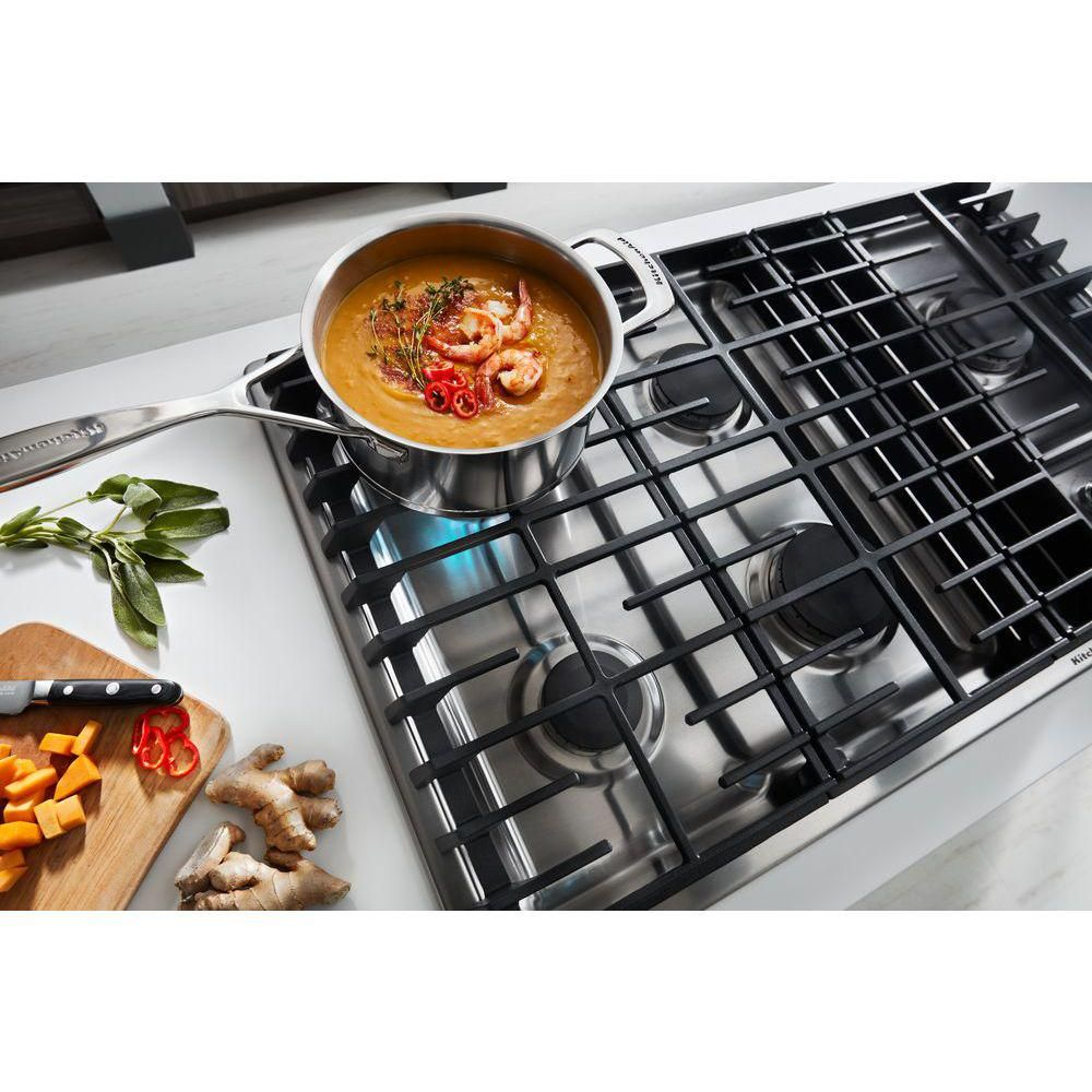 Kitchenaid 36 in gas downdraft cooktop in stainless steel