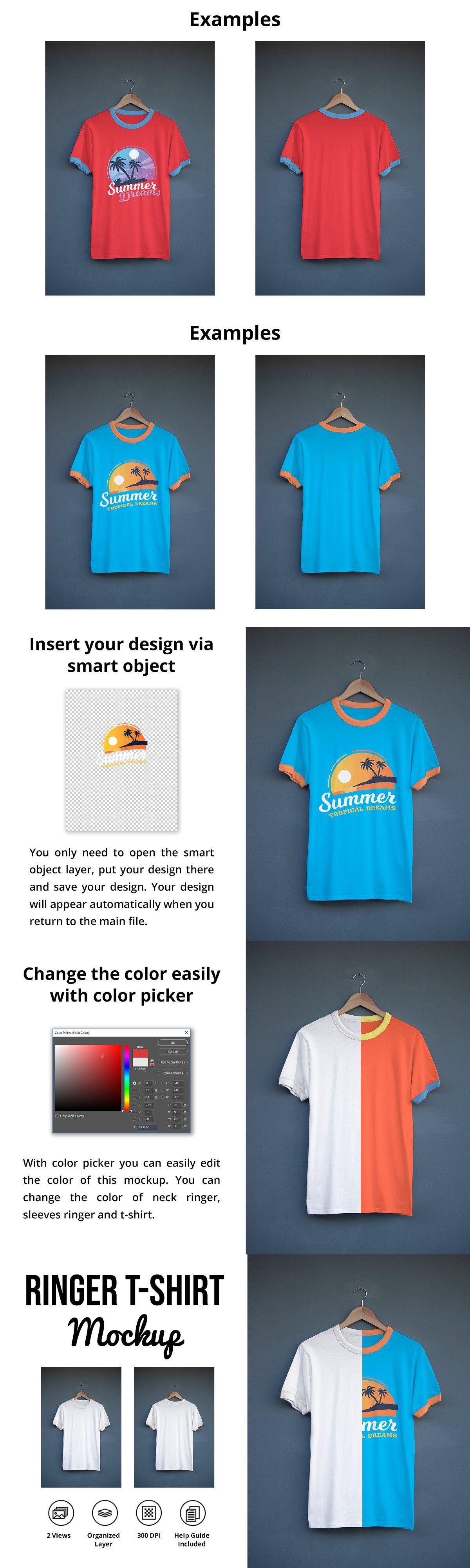 Download Ringer T Shirt Mockup Shirt Mockup Tshirt Mockup Colorful Shirts