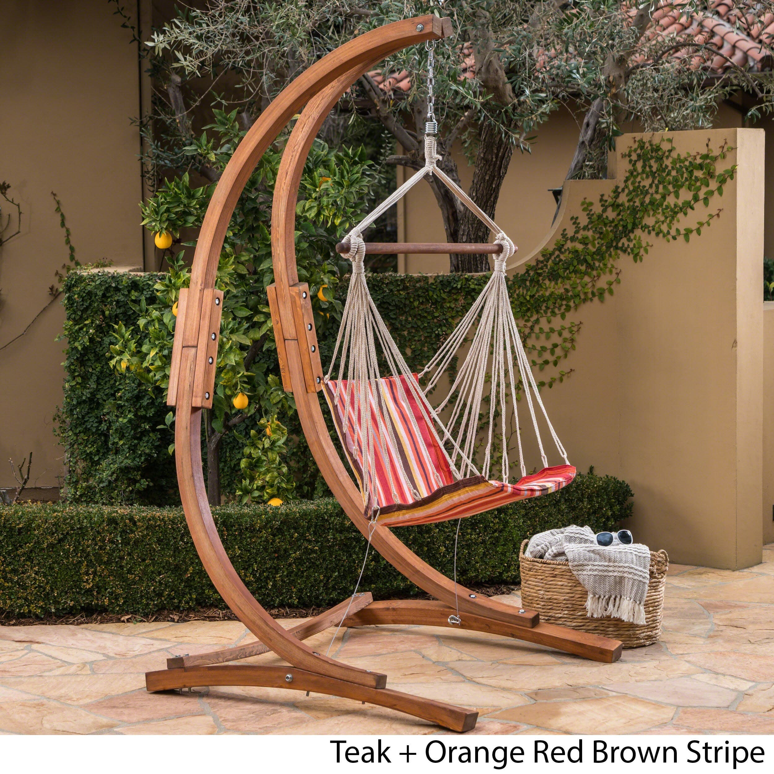 Griffith Outdoor Larch Wood Hammock Chair Swing With Water Resistant