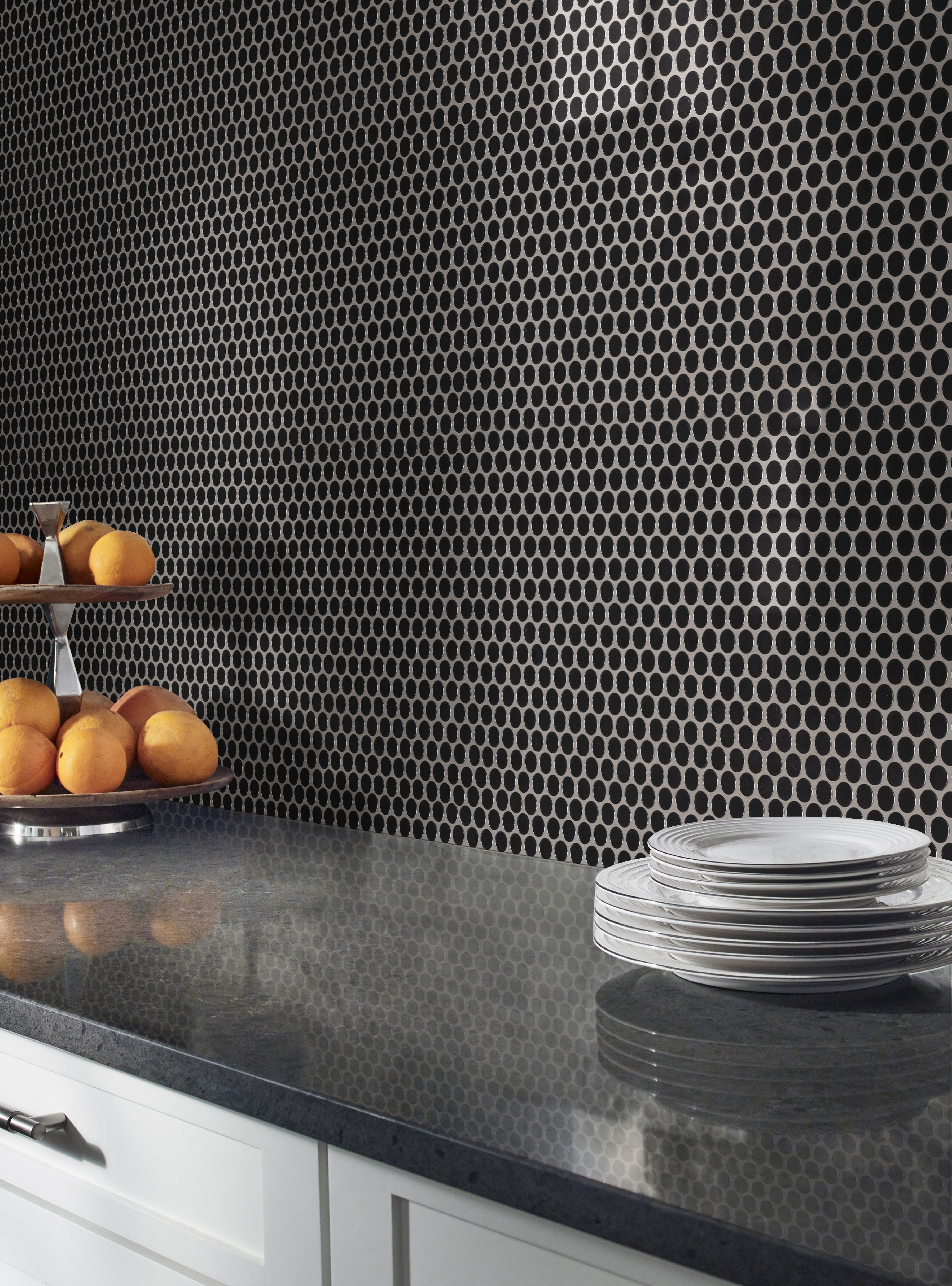 - Black Glossy Penny Round Tiles Feature Jet Black Tiles In A