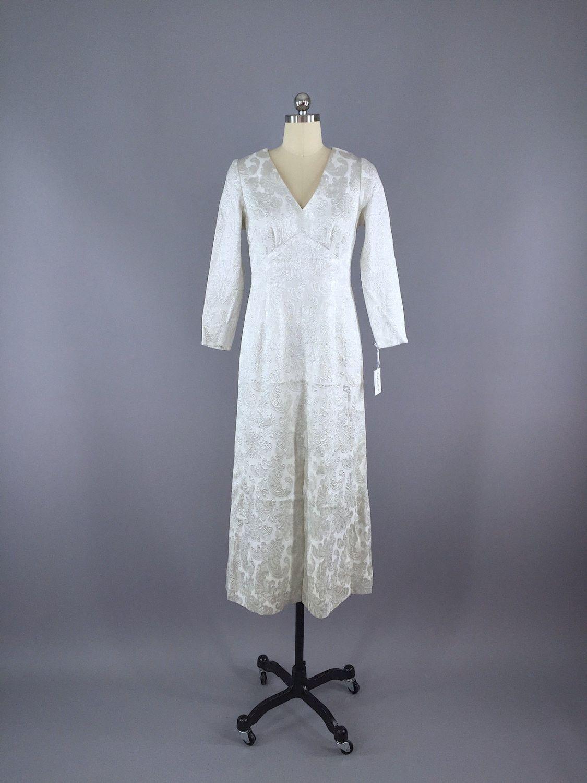 S vintage silver brocade maxi dress thisbluebird modern