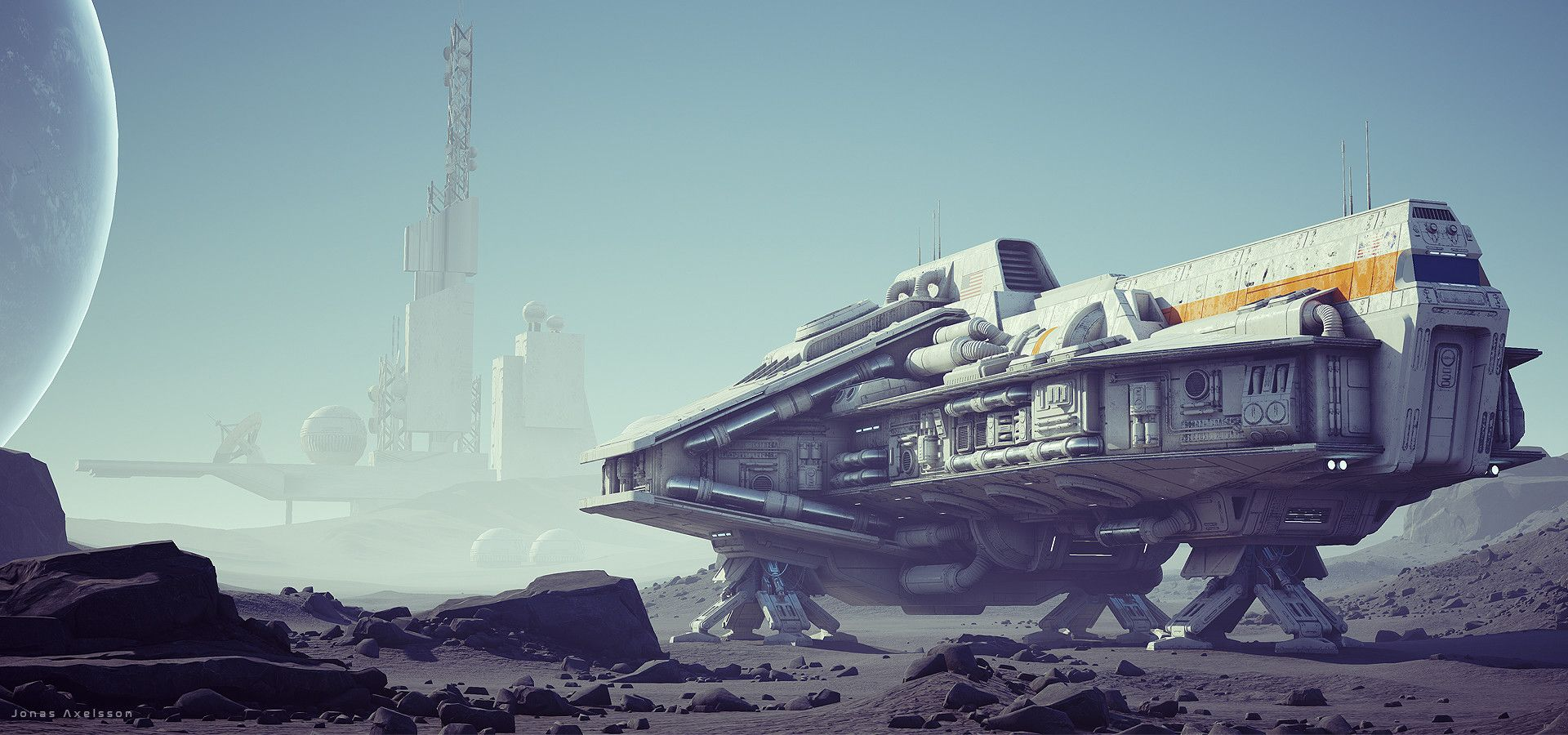 Been working on this on and off for some time. Initially set on the moon but I realized a planet with atmosphere is more interesting (might still revisit the moon idea though). I tried to build it as modular as possible with about 5 greeble modules used for the details. The ship uses one 4k texture. Inspired by the the UT map Outpost 23