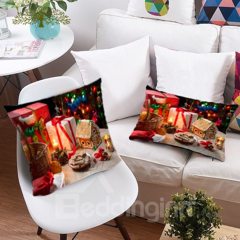 Christmas Tree and Colored Lights Printing 3D Polyester Throw Pillow - dollar general christmas decorations