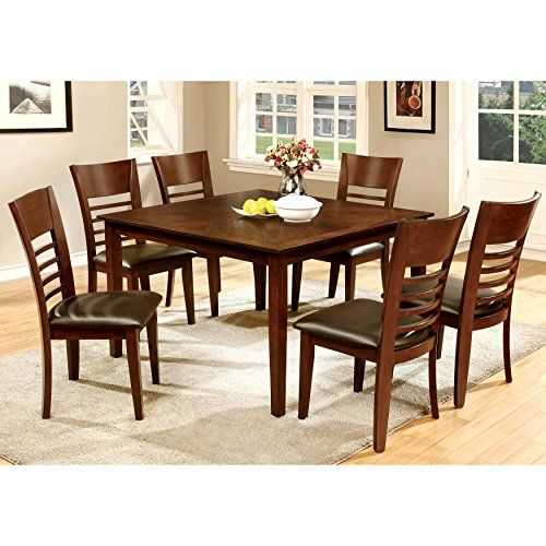 Furniture Of America Leonard Iii 7 Piece Brown Cherry Dining Set