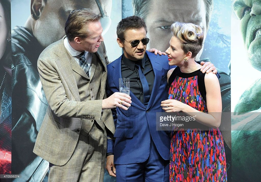 Paul Bettany, Jeremy Renner and Scarlett Johansson attend 'The Avengers: Age Of Ultron' European premiere at Westfield London on April 21, 2015 in London, England.