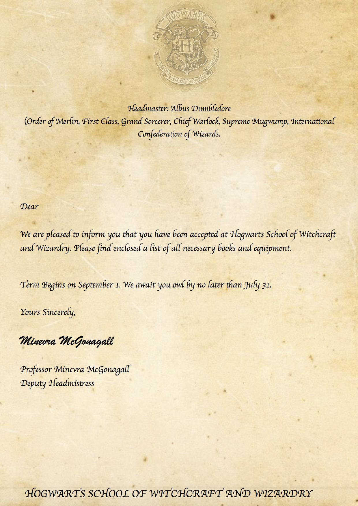 harry potter diy hogwarts acceptance letter harry. Black Bedroom Furniture Sets. Home Design Ideas