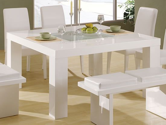 Modest Design White Dining Table Home | Aura Modern White Floating .