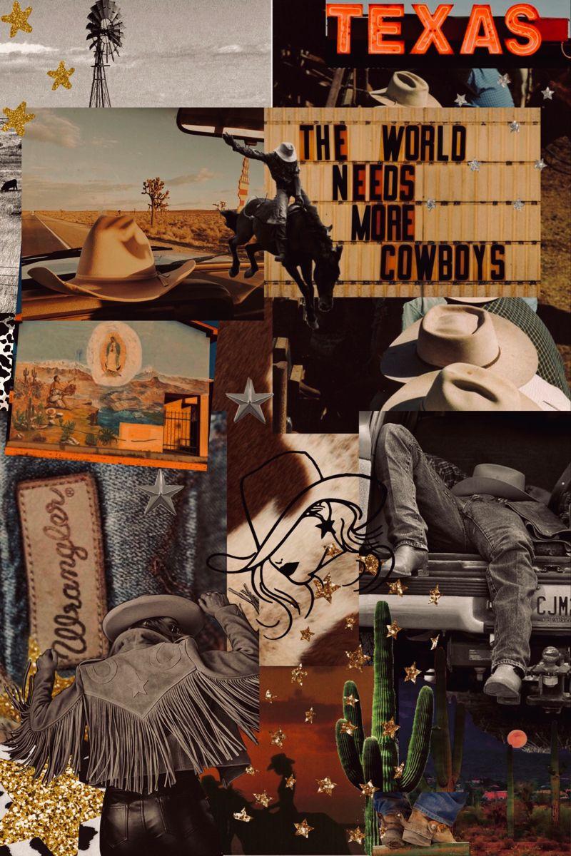 Western Cowgirl Cowboy Texas Collage Inspo Aesthetic Wallpaper Wrangler In 2020 Western Artwork Western Wall Art Cute Patterns Wallpaper