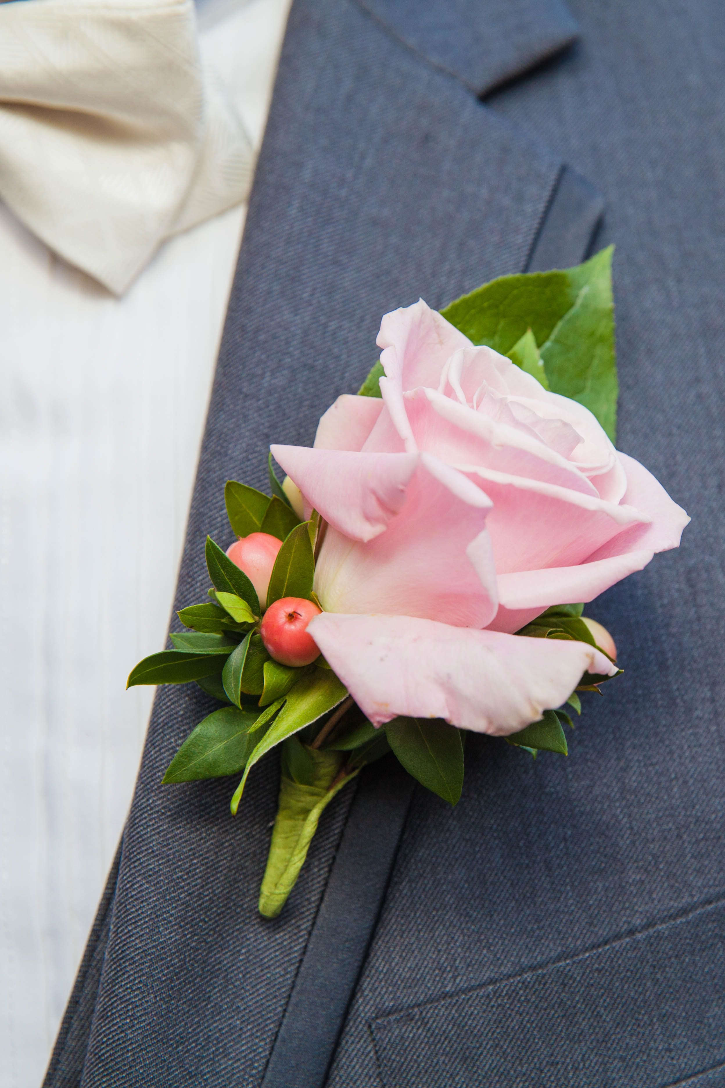 "Peach Garden Rose Boutonniere groom's boutonniere of a ""sweet eskimo"" rose and peach hypericum"