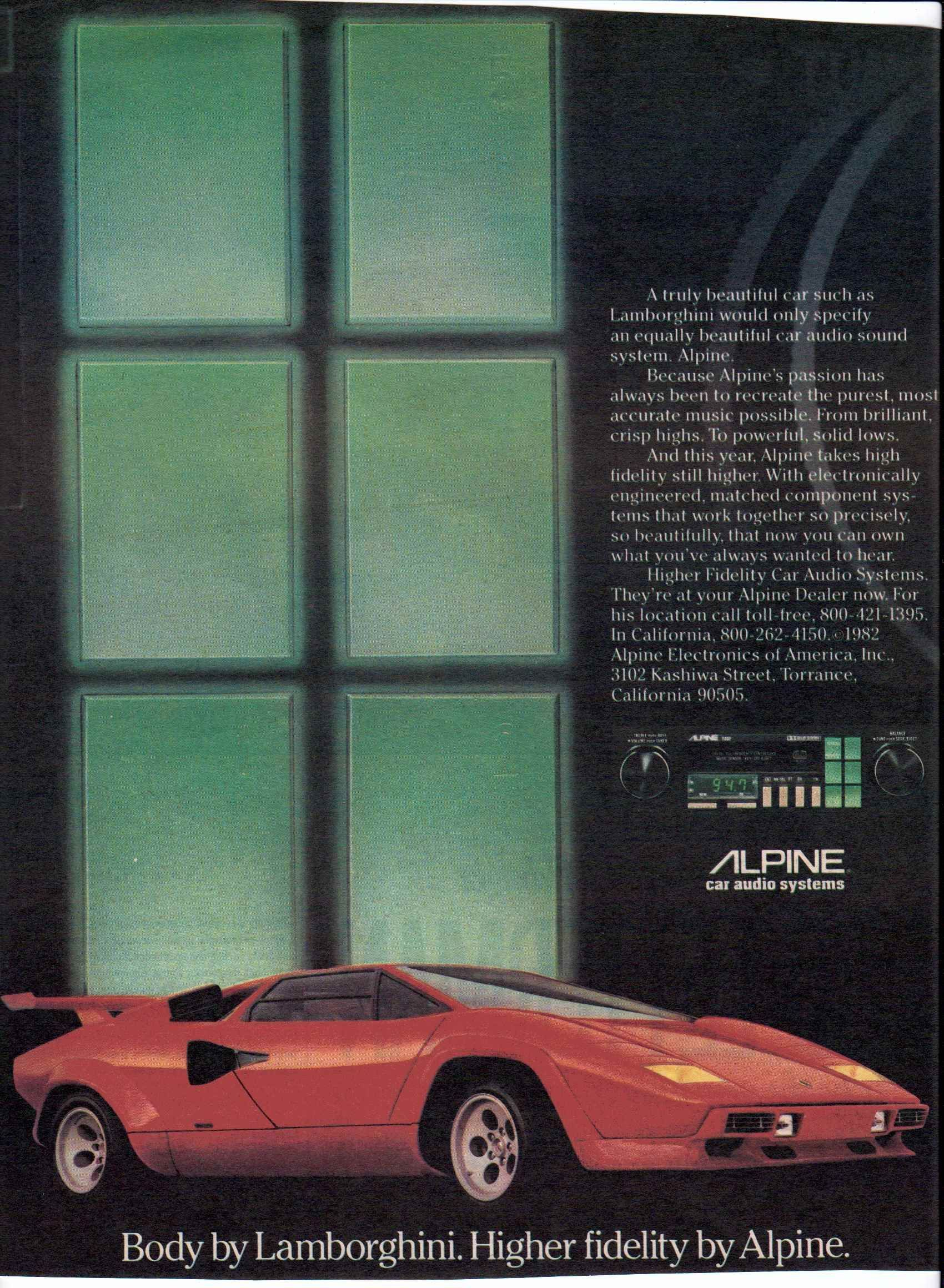 1982 Alpine Cassette Stereo Featuring A Countach Lamborghini In The Advertisement Car Audio Alpine Car Audio Automotive Illustration