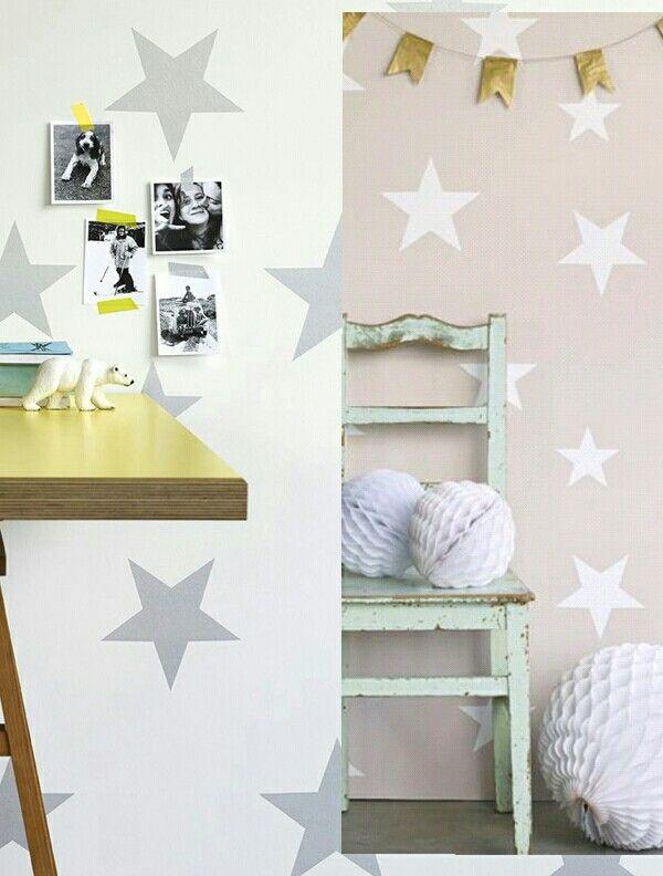 Precioso papel pintado  motivos estrellas de Hibou.