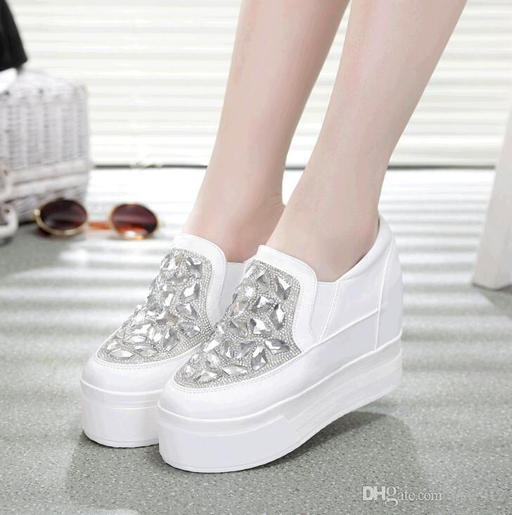 3ba99b30d397 Height Increasing Girl Flatform Shoes Low Women Sneakers czech Rhinestone  thick sole wedge heels White Crystal Platform Sport Shoes  dhgatepin