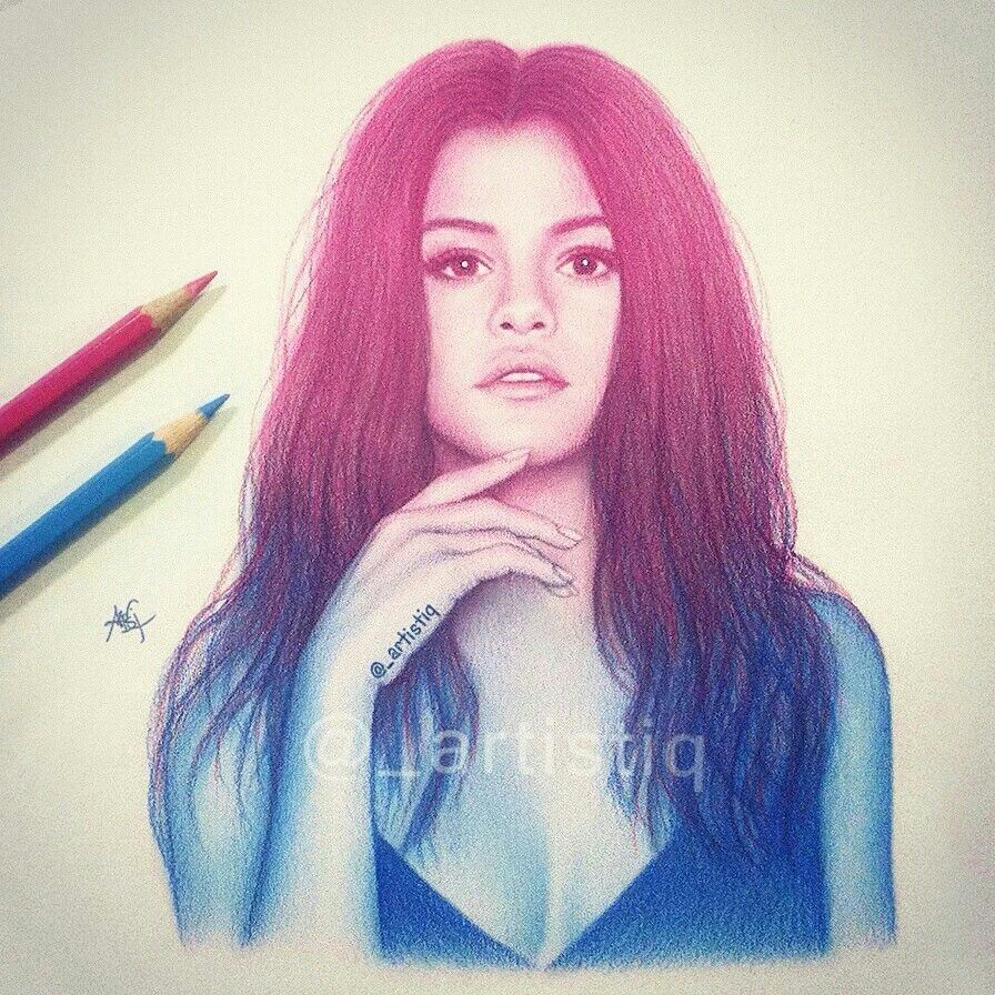 Selena gomez beautiful drawings cool drawings pencil drawings selena gomez with fans