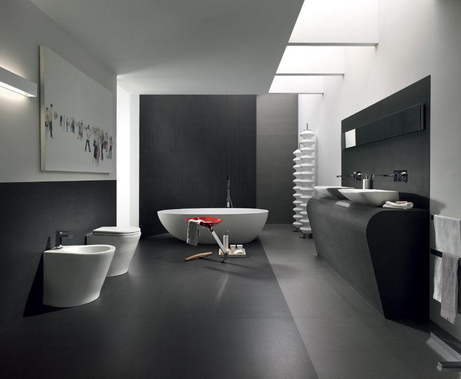 Bagno super moderno. Grigio chiaro e scuro. #therapy4home #bagno #grey ...