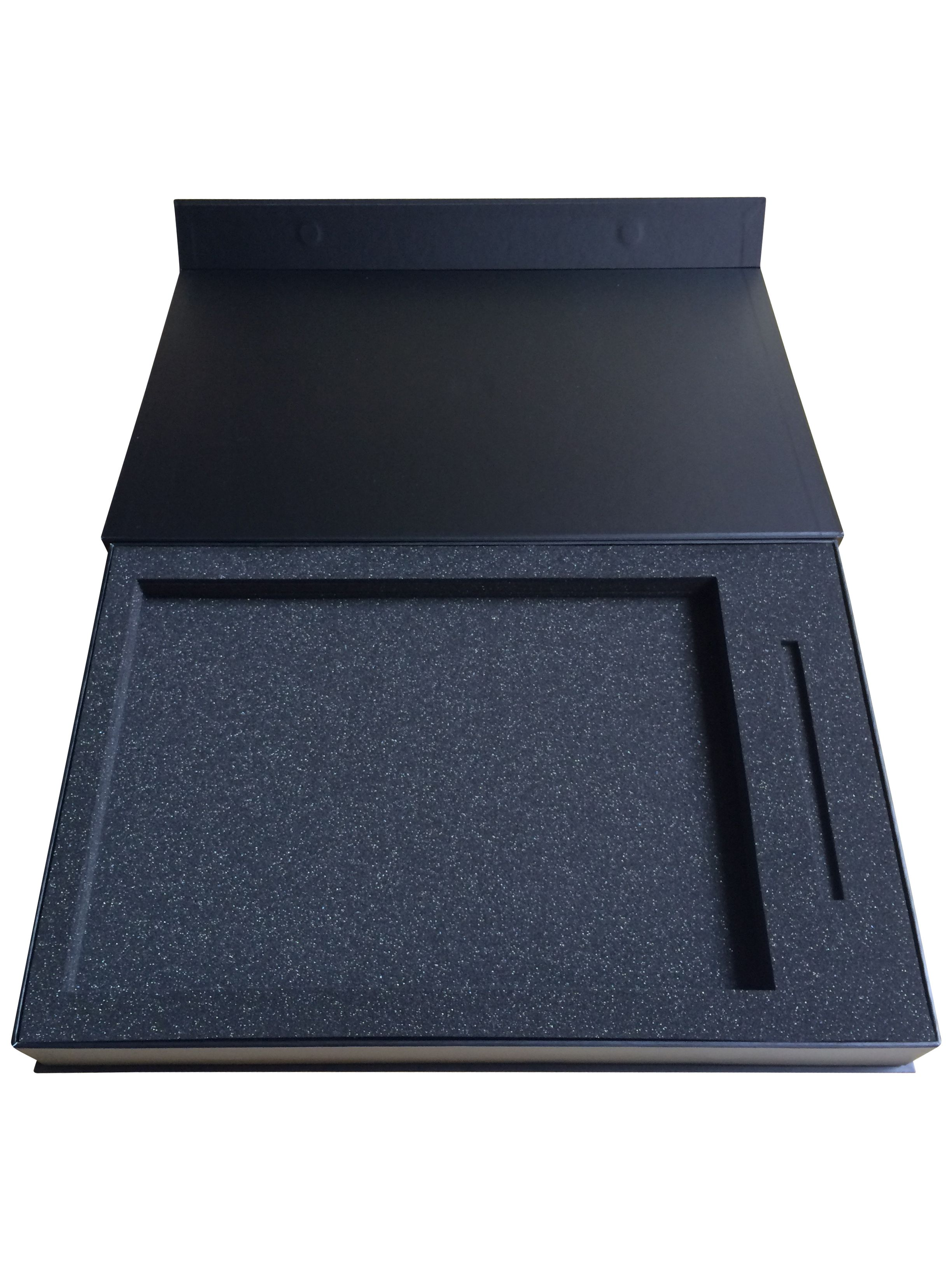 Rigid box with magnetic close with custom cut foam insert for High end client gifts