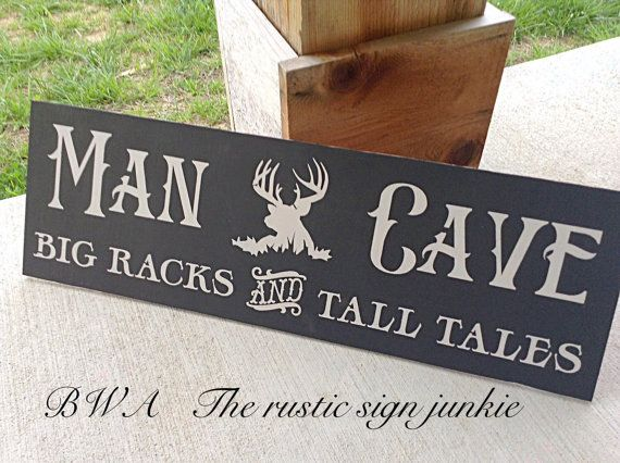 Hunters Man Cave Signs : Man cave sign deer hunting cabin wood