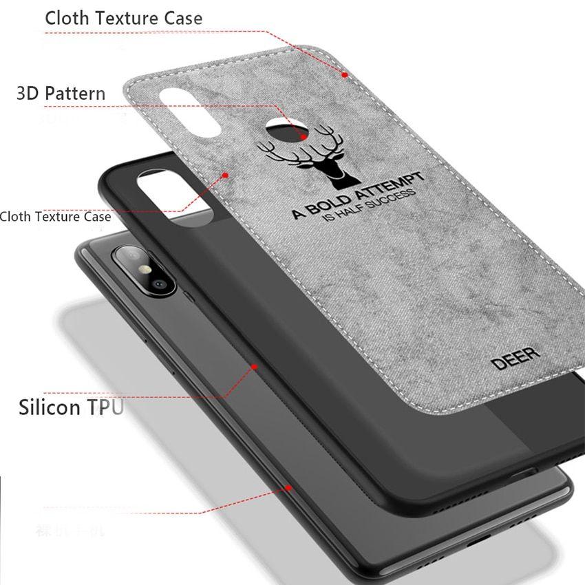 For Xiaomi Mi A2 Lite Redmi Note 5 Pro 6x 6a 6 Pro Mi S2 Y2 Elk Pattern Silicon Tpu Cloth Texture Case Mi A2 Lite Case Xiaomi Case Note 5