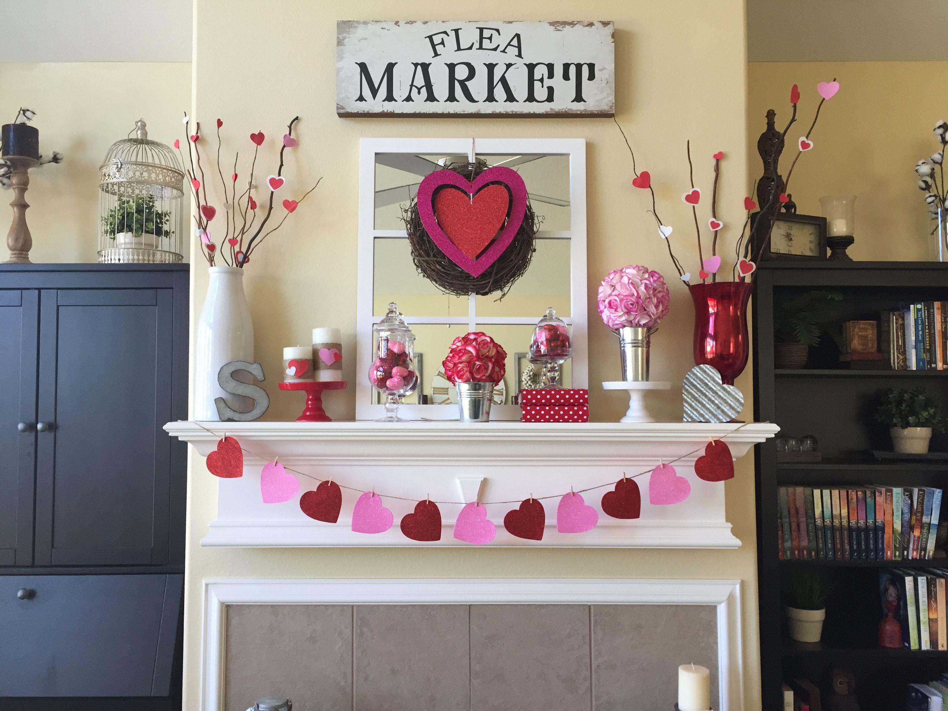 DIY Valentine's Day Mantle Decor Handmade Banner Wreath Candles Flower Balls Heart Twigs