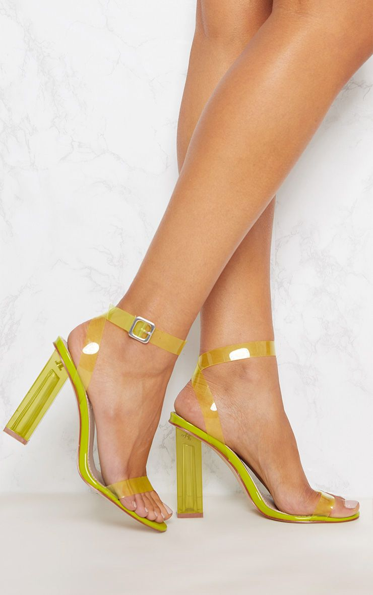 e62949de4c2 Lime Coloured Clear Strappy HeelAdd a splash of colour to your shoe  collection with these killer