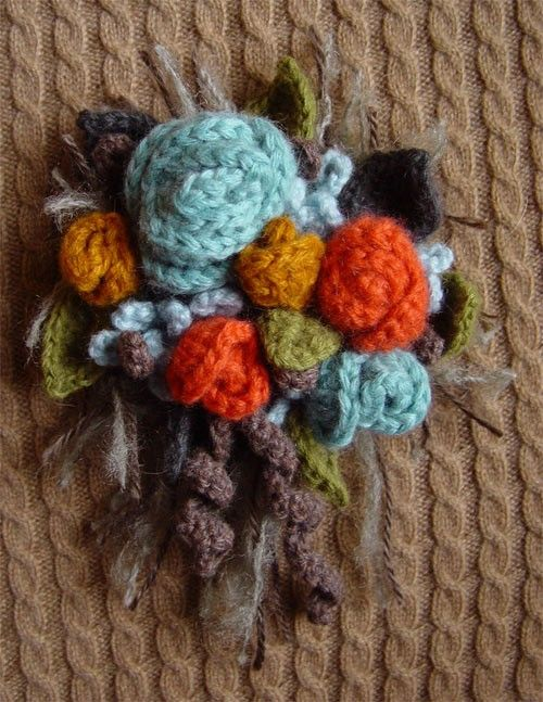 Crochet cashmere Fall Flowers Corsage Brooch Pin. $25.00, via Etsy ...