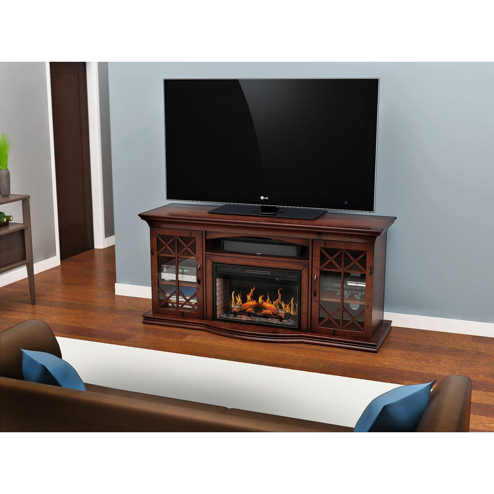 Z Line Aldridge Flat Panel Electric Fireplace Tv Stand