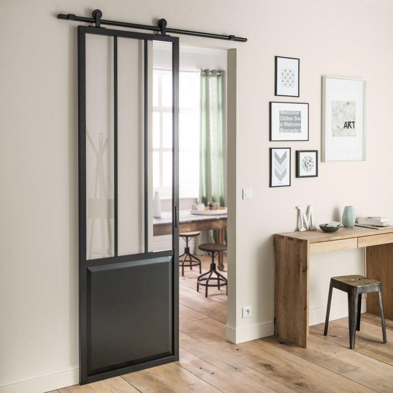 ARTENS Porte coulissante aluminium noir Atelier verre clair ARTENS - Store Leroy Merlin Interieur