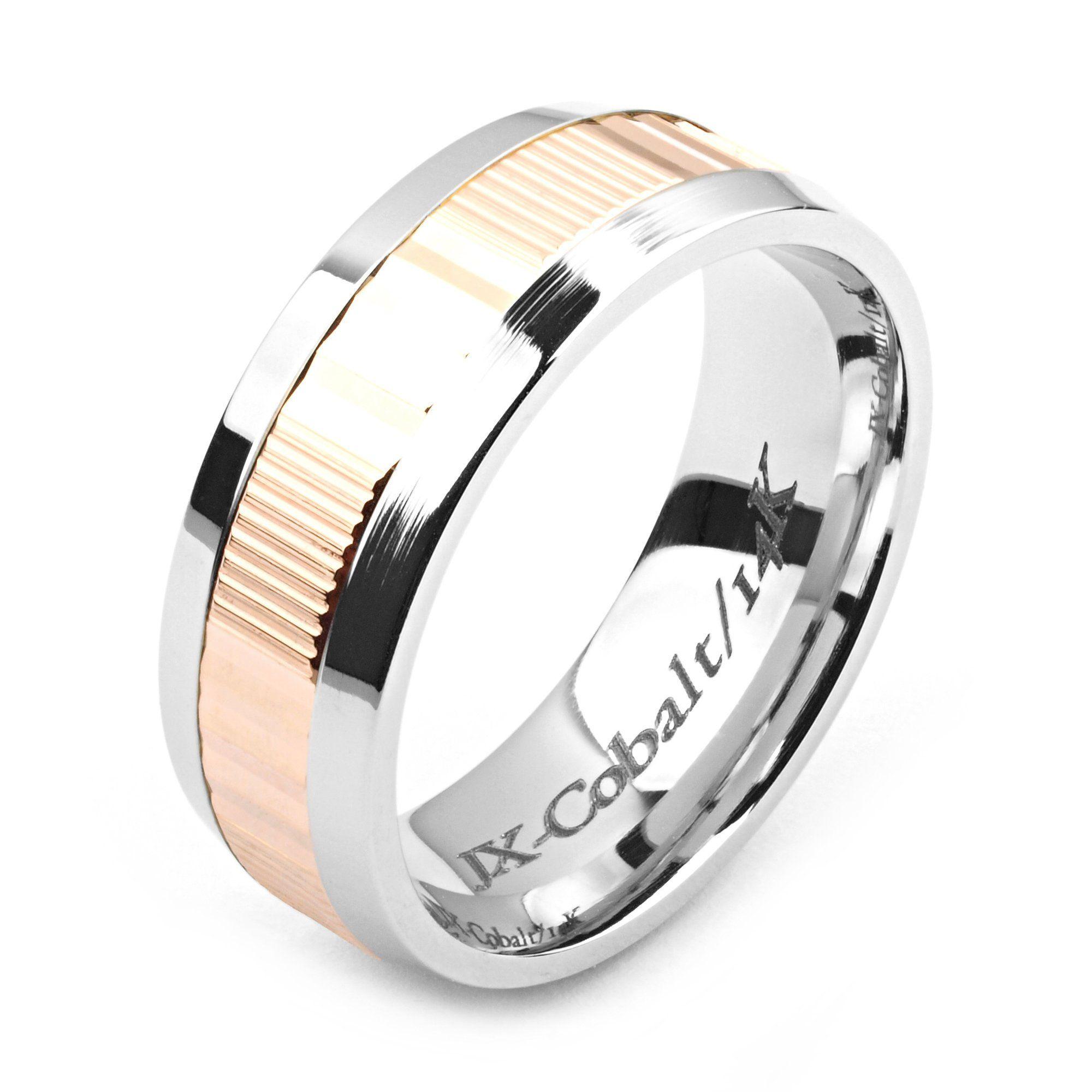 Men's Cobalt Ring 8mm Wide TwoTone Cobalt & 14K Rose Gold