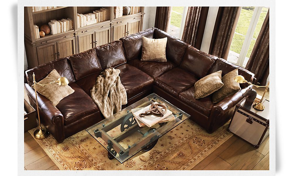 I Love These Deep Seated Leather Couches From Restoration Hardware So Comfy Sectional Sofa Comfy Brown Living Room Decor Brown Living Room