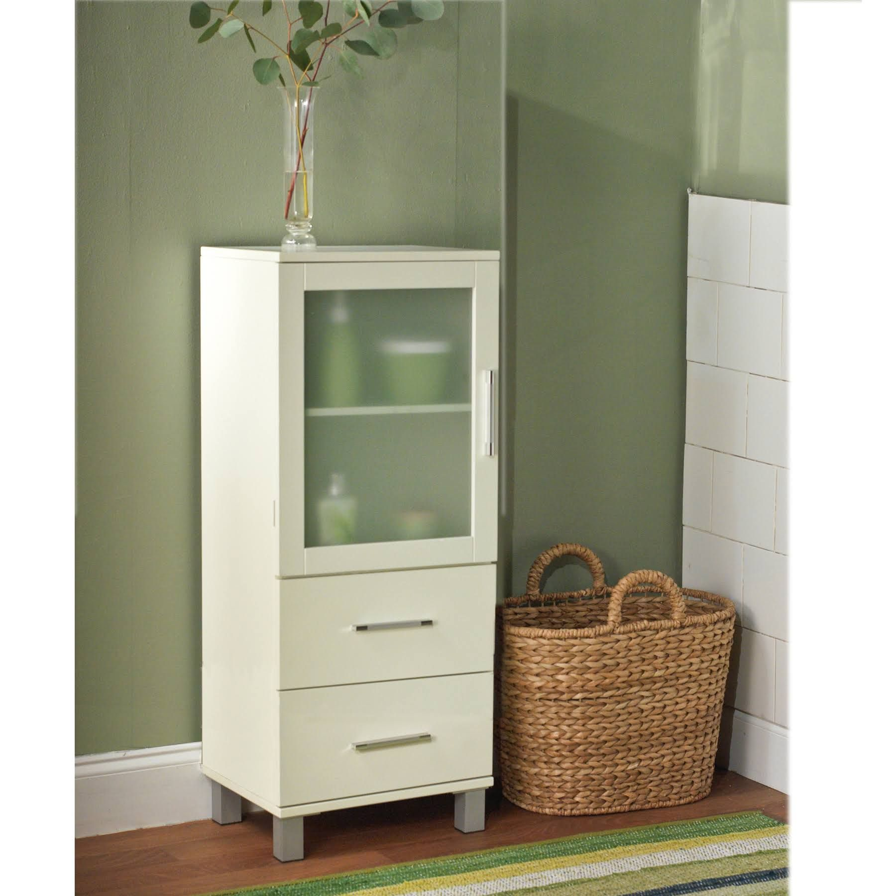 kmart Frosted Pane 2 Drawer Linen Cabinet 50029WHR