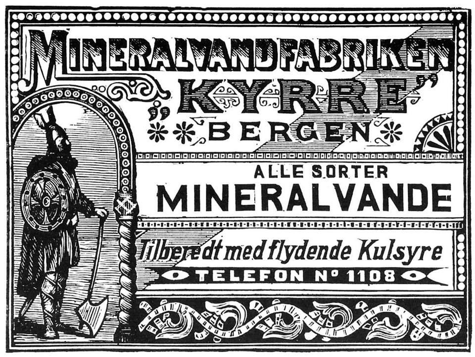 Foto: Arnulf Pedersen. Denne annonsen er laget/gravert av August Johannessen, kjent for å ha gravert mange avisannonser. (Fra Centraltrykkeriets bok: «Bergen minnenes by» 1987).
