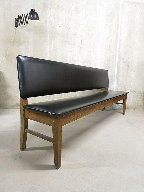Vintage Sofa Bench Danish Industrial Bank