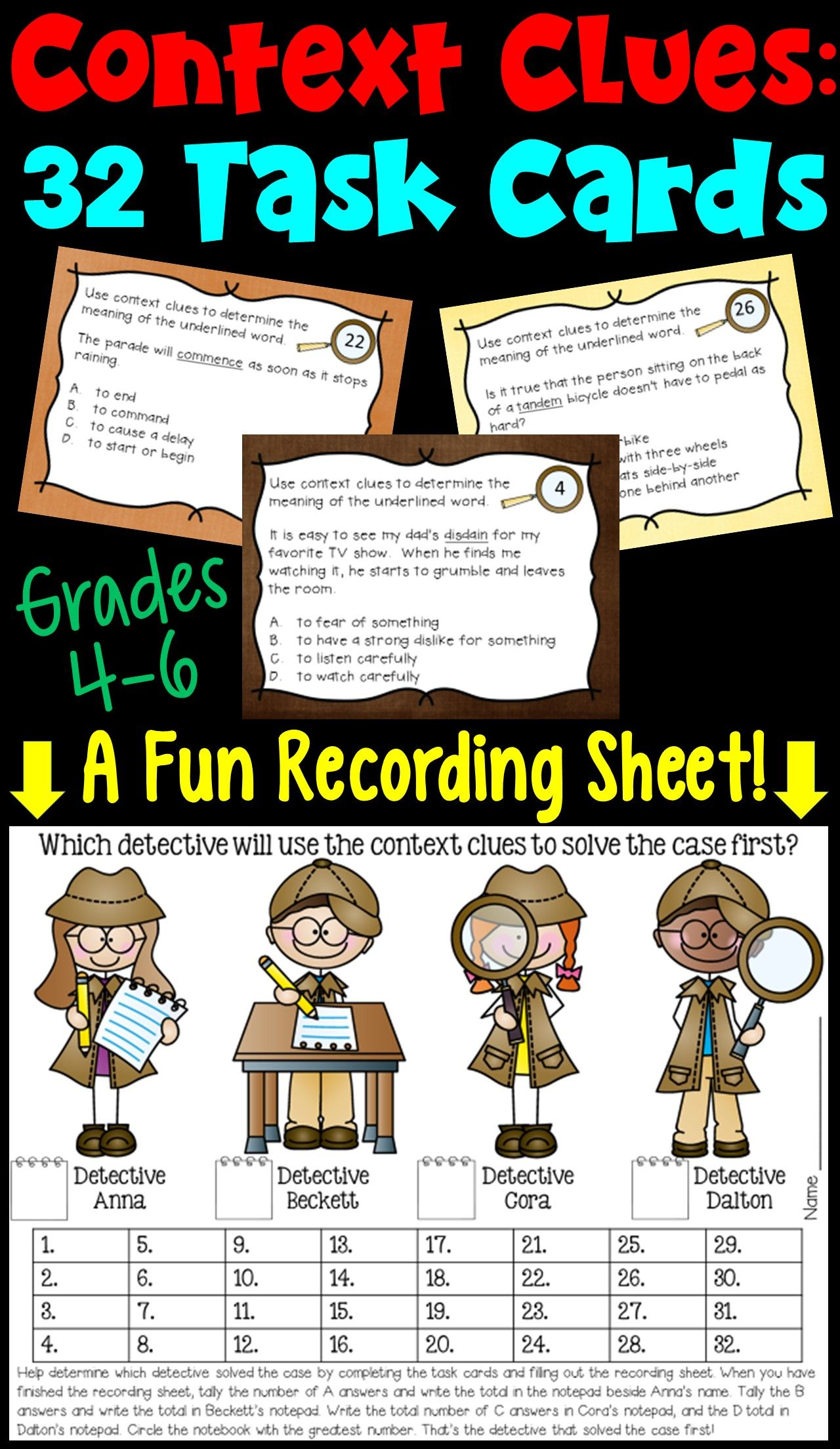 Context Clues Task Cards With Digital Option 4th 5th