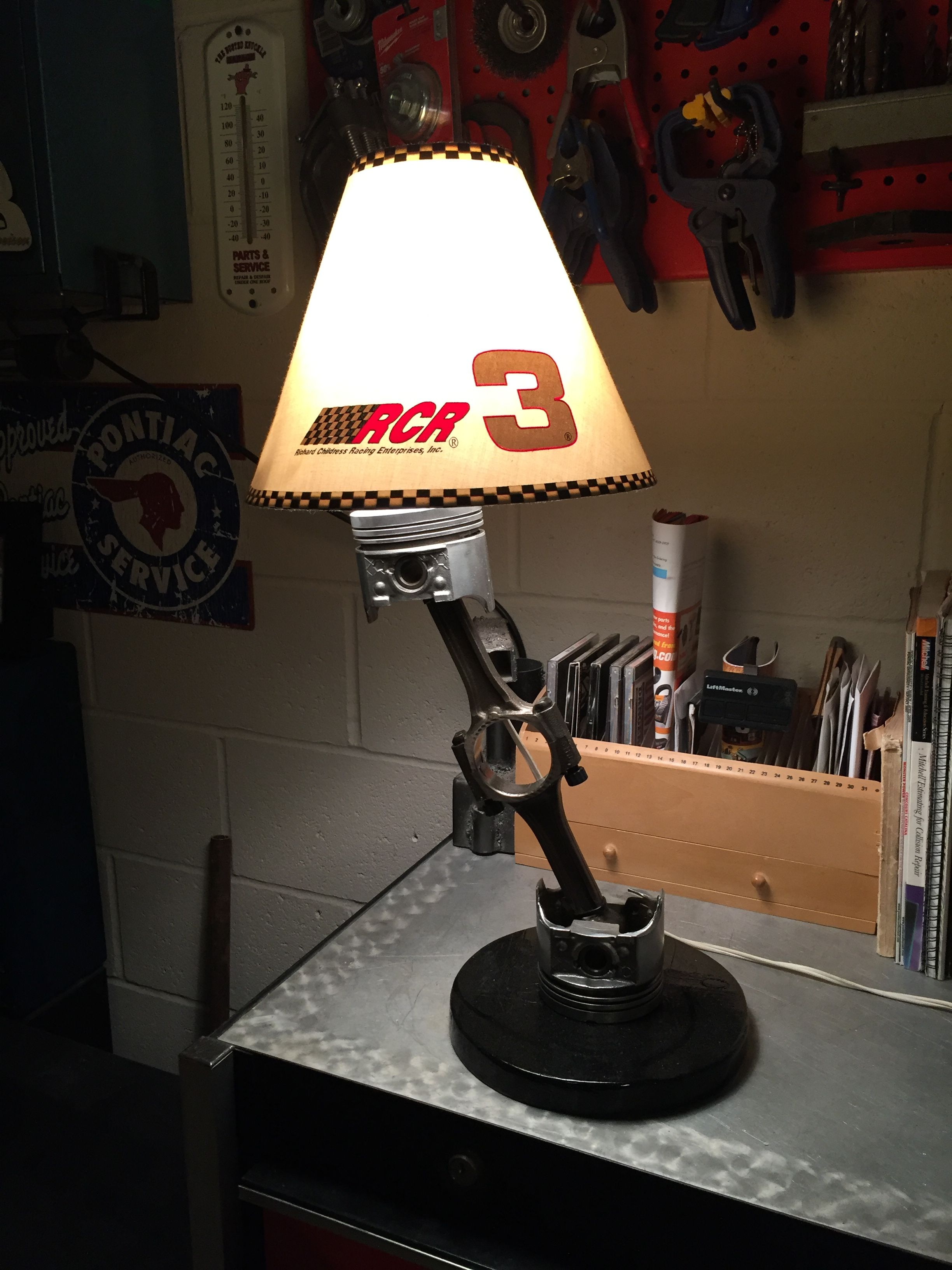 Table Lamp Made From Used Car Engine Piston And Rod Assemblies Sold Lamp Table Lamp Rain Lamp