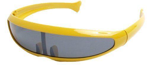 a89e85f391c7 Yellow Frame Funky Retro Shield Sunglasses With Bold Plastic Frames Efocus.  $12.95