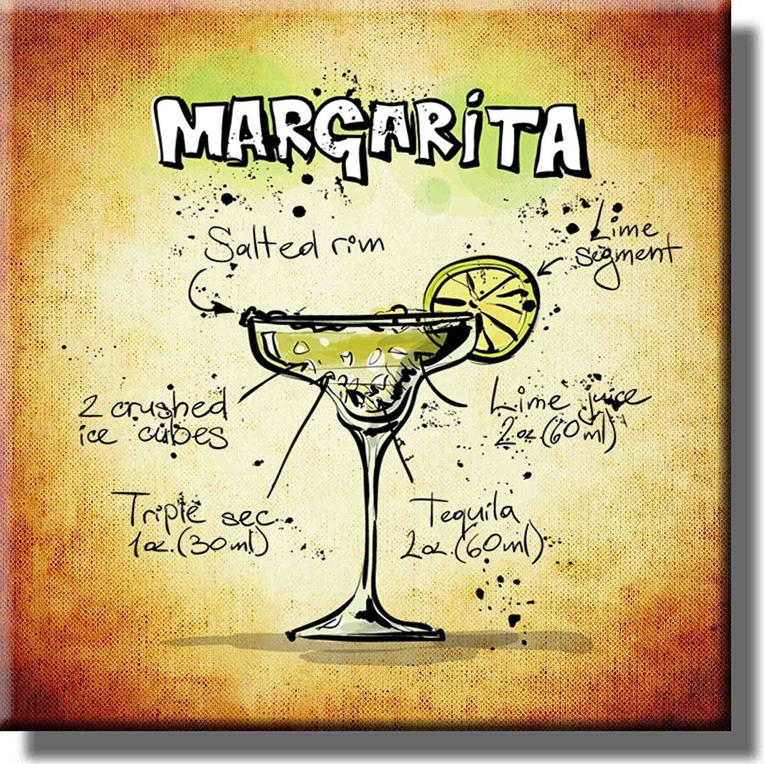 Margarita Cocktail Recipe Drink Picture on Stretched Canvas, Wall ...