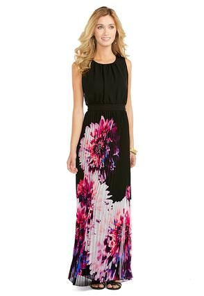 Cato Fashions Sheer Pleated Flower Maxi Dress-Plus ...