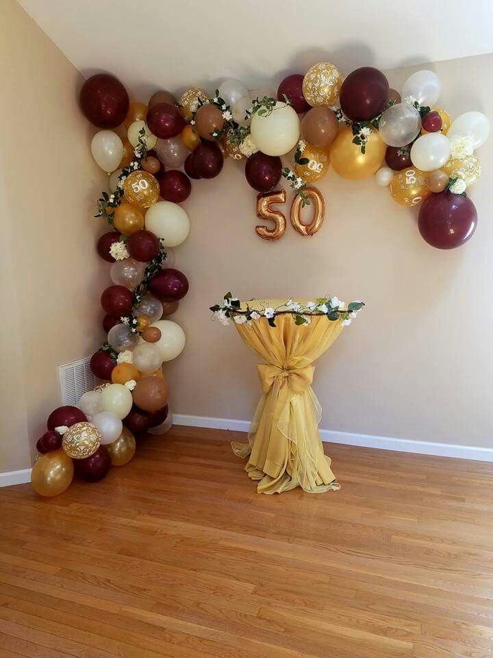 Balloon arrangement for 50th birthday 50th birthday for Balloon banner decoration