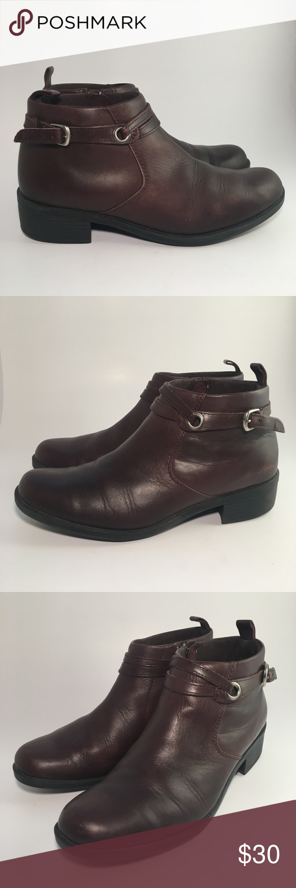 Clarks 72886 Brown Leather Side Zip Ankle Boots Womens Boots Ankle Left Shoe Ankle Boots