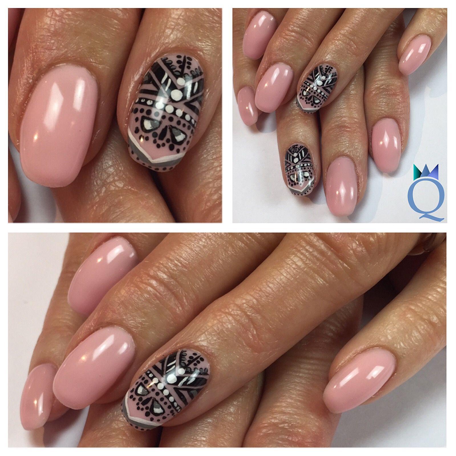 shortnails #gelnails #nails #lightrose #handpainted #nailart ...