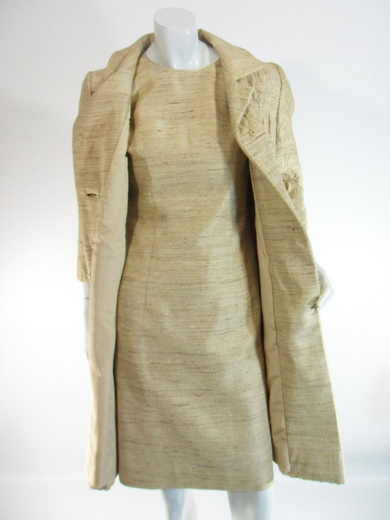 fc80b45f 1960s coat and dress set in a taupe/gold fabric with the look of raw silk.  Sleeveless, fully-lined wiggle sheath with bust darts and vertical seams,  ...