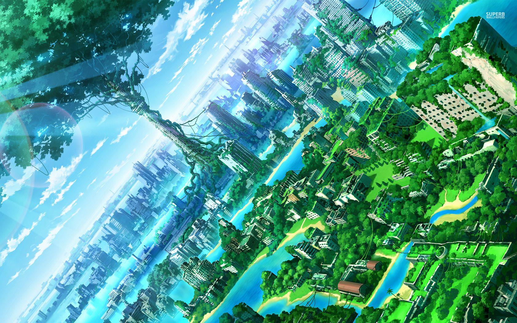 Green City Wallpaper Anime Backgrounds Wallpapers Anime Scenery Wallpaper Anime Wallpaper