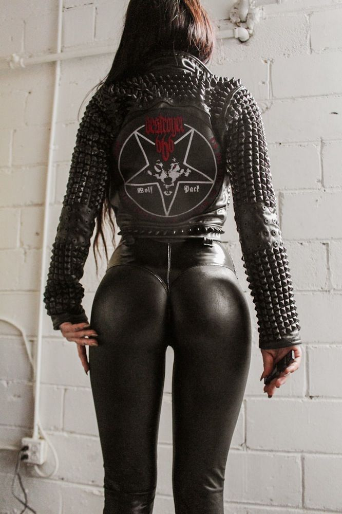 222f3b567 hot sexy cute ass legs TOXIC VISION Destroyer 666 biker jacket ...