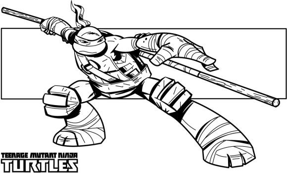Kleurplaten Teenage Mutant Ninja Turtles.Don Teenage Mutant Ninja Superhero Coloring Page Kleurplaat